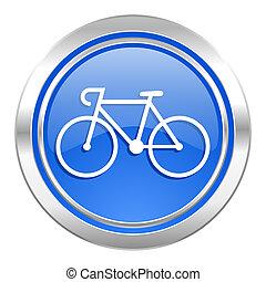 señal, bicicleta, azul, bicicleta, botón, icono