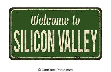 señal, bienvenida, oxidado, valle, vendimia, metal, silicio