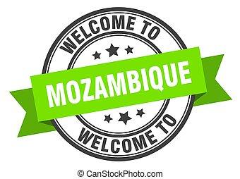 señal, bienvenida, stamp., verde, mozambique