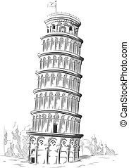 señal, bosquejo, italia, pisa, torre