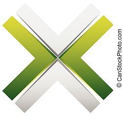 señal, -, brillante, elemento, genérico, cruz, diseño, x,...