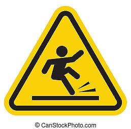 señal, caer, advertencia, escaleras, de