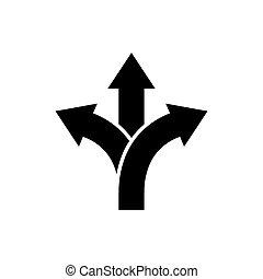 señal, camino, flecha, tercios, icono, dirección