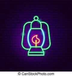 señal, campamento, neón, lámpara