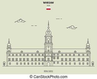 señal, castillo, varsovia, real, icono, poland.