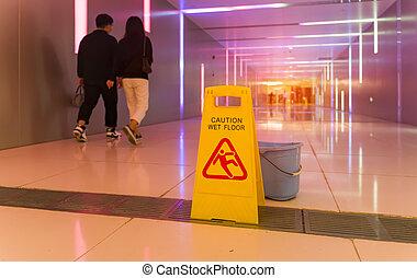 """señal, """"caution, paso inferior, mojado, floor"""""""
