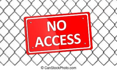 señal, cerca, metal, no, aislado, acceso, rojo