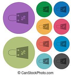 señal, color, más oscuro, plano, porcentaje, compras, iconos, bolsa