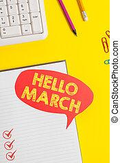 señal, composición, tabla, amarillo, march., o, vacío, rosa,...