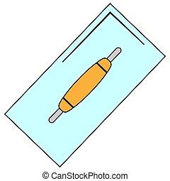 señal, construya, espátula, cuchillo, reparación, masilla, icono, plano