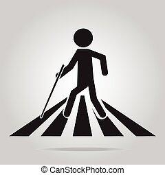 señal cruzando, hombre, peatón, invidente