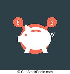 señal de banco, moneda, cerdito, burbuja, rojo