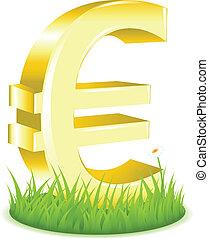 señal de euro, en, pasto o césped