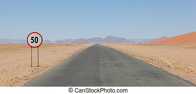 señal de límite de velocidad, en, un, desierto, camino, en,...