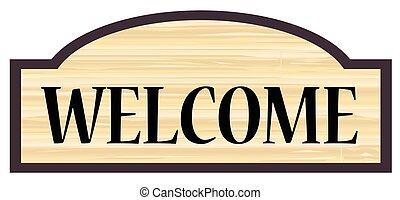 señal, de madera, bienvenida