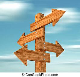 señal, de madera, direccional