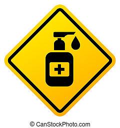 señal de mano, sanitizer, advertencia