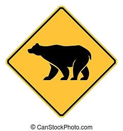 señal de tráfico, fauna, oso