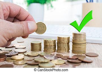 señal, dinero, aprobar, finanzas, ahorros, apilado, coins