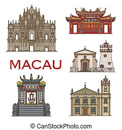 señal, edificios, arquitectura, macao, templos