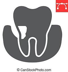 señal, editable, eps, stomatolgy, glyph, vector, dental, periodontal, periodontitis, icono, golpe, 10., gráficos, diente, sólido