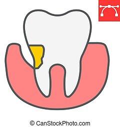 señal, editable, eps, stomatolgy, vector, color, dental, periodontal, llenado, periodontitis, contorno, icono, golpe, 10., gráficos, línea, diente