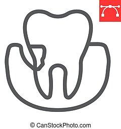 señal, editable, eps, stomatolgy, vector, dental, periodontal, periodontitis, icono, golpe, 10., diente, gráficos, línea, lineal