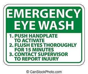 señal, emergencia, ilustración, aislar, instrucciones, lavado, vector, ojo, plano de fondo, blanco