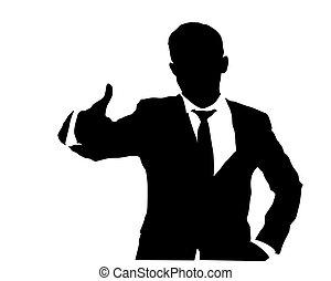 señal, empresa / negocio, 2, el gesticular, hombre, aprobar