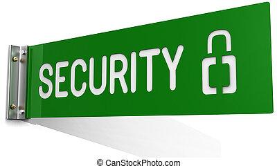 señal, en, seguridad, departamento, oficina, pared