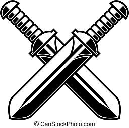señal, espadas, t, fondo., etiqueta, elemento, cartel, diseño, shirt., blanco, cruzado, emblema, logotipo, medieval
