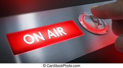 señal, estación, radio, aire