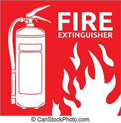 señal, extintor, fuego