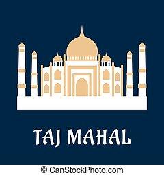 señal, famoso, indio, mahal, taj