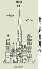 señal, france., rouen, catedral, icono