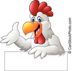 señal, gallo, caricatura, tenencia, blanco