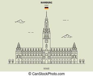 señal, germany., rathaus, hamburgo, icono
