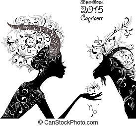 señal, goat, 2015, año, zodíaco, capricorn., fashi, hermoso