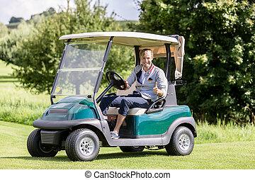 señal, golf, thumbup, carrito, actuación, golfista masculino