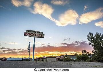 señal, grande, motel, estados unidos de américa, restaurante