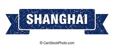 señal, grunge, banda, ribbon., azul, shanghai