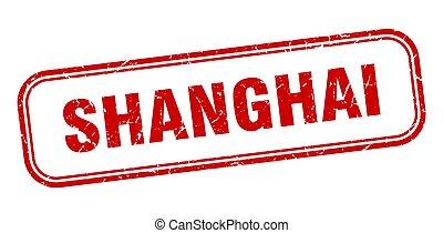 señal, grunge, stamp., rojo, aislado, shanghai