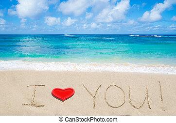 """señal, """"i, amor, you"""", en, el, playa arenosa"""