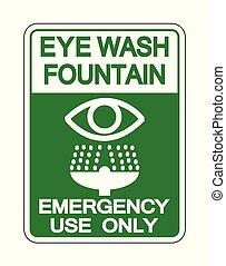 señal, ilustración, aislar, vector, lavado, ojo, fuente, plano de fondo, blanco