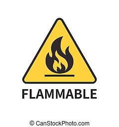 señal, inflamable, icono