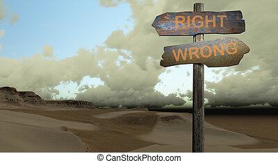 señal, la derecha de la dirección, -, mal