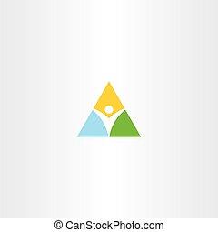 señal, logotipo, hombre, icono, vector, sano, triángulo