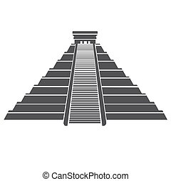señal, méxico, pirámide, azteca, aislado, maya, icono, whit.