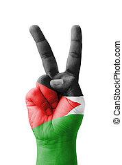 señal, mano, pintado, bandera, v, palestina, elaboración