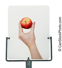 señal, manzana, camino, rojo